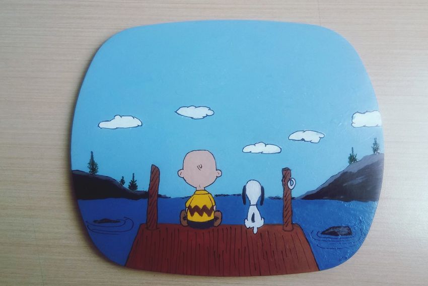 Charlie Brown Drawing/Painting Charlie Brown Snoopy Dog Snoopy EyeEm Selects Blue Close-up Drawing - Art Product Painted Image Drawn Paint Painter - Artist Paintings Acrylic Painting