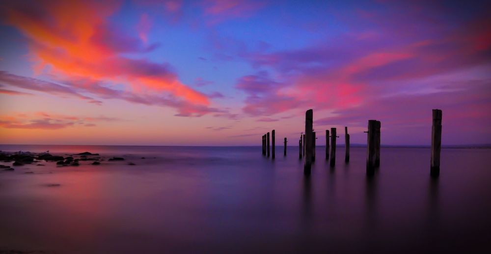 Myponga South Australia Beach Serenity Sillouette Old Jetty Sunset Clouds And Sky Purple Orange Magenta Sky And Clouds Sky Beautiful Nature EyeEm Nature Lover Nature_collection Tokina 11-16 Mm F/2,8 Nikon D90 Landscape_Collection The Great Outdoors With Adobe The Great Outdoors - 2016 EyeEm Awards Nature's Diversities