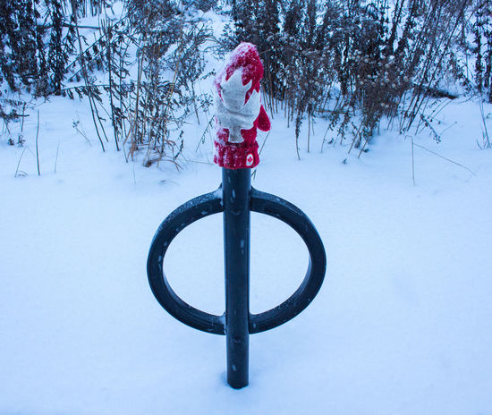 """Canadian Winter"" Barrie Bikerack Canada Canadian Winter Glove Maple Leaf Ontario, Canada Outdorr Red And White Colour Snow Winter"
