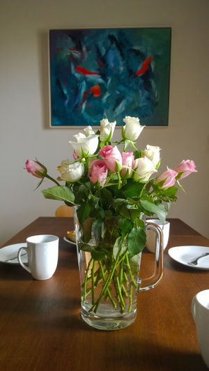 Afternoon Anda Runia Arrangement Blossom Coffee Coffee Table Coffee Time Flower Flower Head Germany Home Painting Pink Color Plant Porcelain  Roses Rosé Sachsenhagen Vase Vase Wooden Table