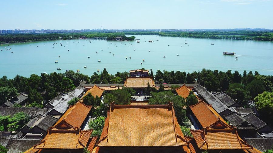 High angle view of summer palace by river