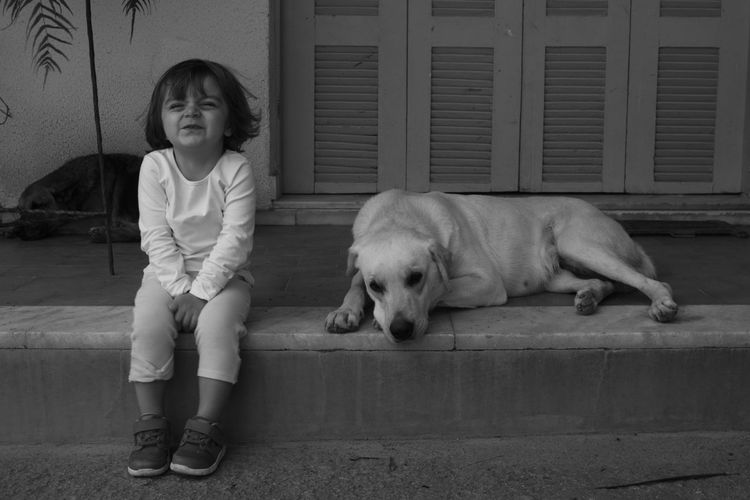 Portrait of cute girl with dog sitting against house