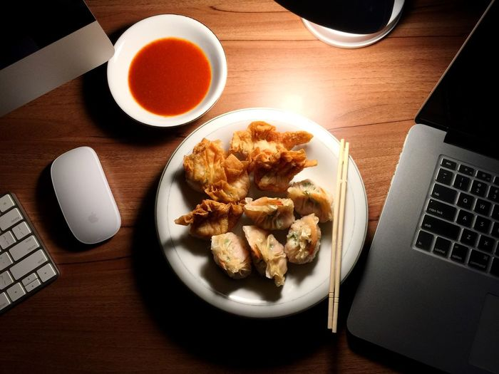 Dimsum in Office Table Dumpling  Nyummy Work Eat Chinese Food Office Dimsum First Eyeem Photo