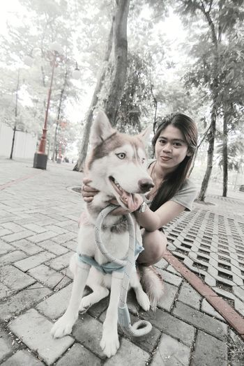 after jogging with kelly at Gajah Mada University, and than take a photo with our style... UGM Gajahmada Yogyakarta, Indonesia Yogyakarta Jogging Time Healthy Siberian Husky Kelly