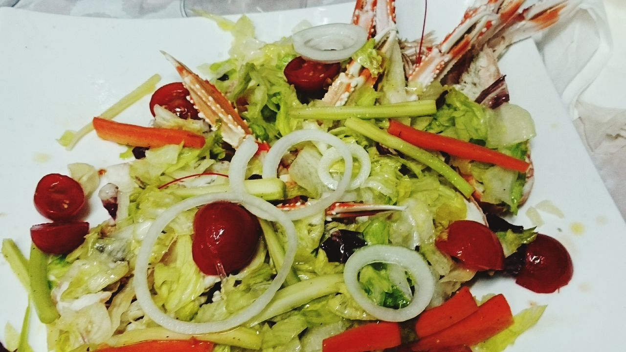 High Angle View Of Lobster Salad Served In Plate