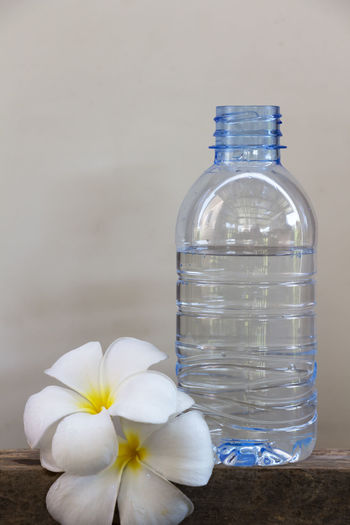 Close-up of water bottle on flower