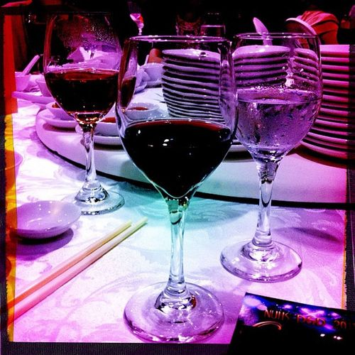 A little red wine lovin at Nuhs D &d on 8/9/11