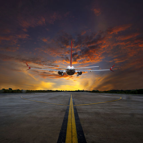 A composed pictures Yellow Sky, Sunset. Aerospace Industry Air Vehicle Aircraft Aircraft In The Sky Aircraft Photography Airfield Airplane Airport Airport Runway Arrival Cloud - Sky Commercial Airplane Flying Landing - Touching Down Low Angle View Mid-air Mode Of Transport No People Outdoors Red Sky At Sunset Sky Sunset Transportation Travel