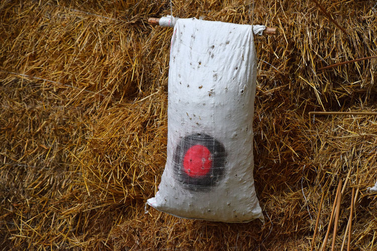 White sack over hay on field