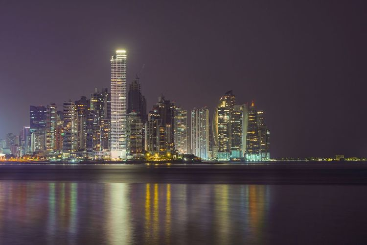Panamá Panama City Long Exposure Night Building Exterior Water Architecture Built Structure Reflection Illuminated Sky Building City No People Cityscape Outdoors