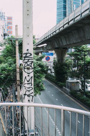 Bridge over road in city