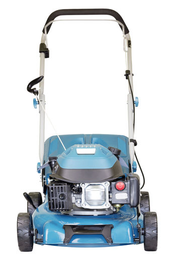 Blue lawn mower against white background