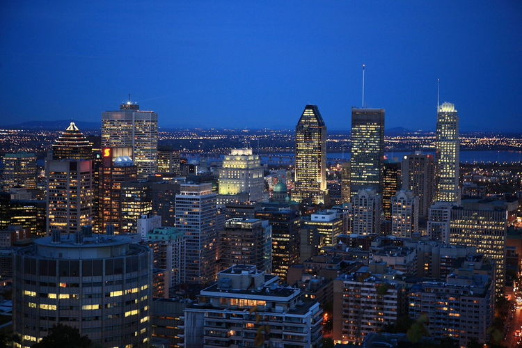 Montreal, Canada view from Mont Royale Architecture Available Light Photography Blue Built Structure Canada City Cityscape Illuminated Modern Modern City Mont Royal Park Montreal Skyline Montreal, Canada Night Skyscraper Travel Destinations Urban Skyline