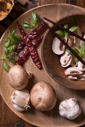 Fresh Vegetables Basil Chinese Food Chinese Vegetables Freshness Green Healty Food Red Arranges Brown Chopsticks Food Food Still Life Foodphotography Indoors  Mushroom No People Pepperoni Table Tabletop Wood - Material