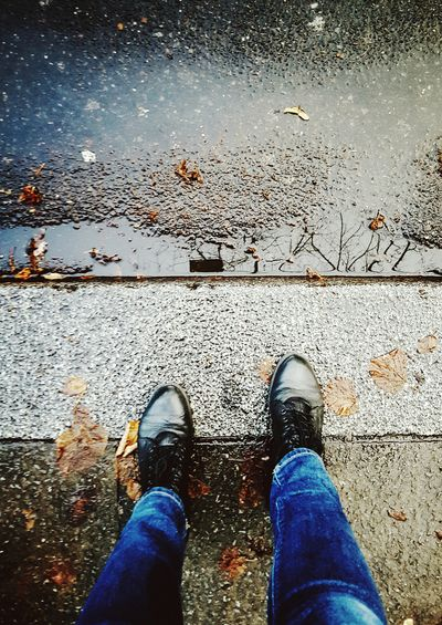 Standing In The Rain Wet Ground Rainy Days Feet Shoes Boots Jeans Streetstyle Lookingdown From My Point Of View Getting In Touch Reflection Puddle Autumn Showcase: November Learn & Shoot: Simplicity Pattern Pieces