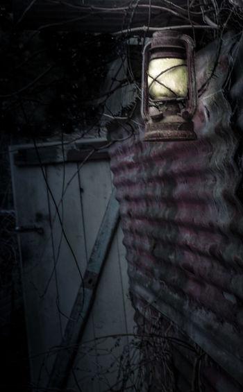 No People Close-up Barn Lantern Creepy Horror Scary Cinematic Rural Abandonded Barn Door Corrugated Iron EyeEmNewHere Bracken Muted Colors Night Fairytale  Fantasy Nightmare Secret Room