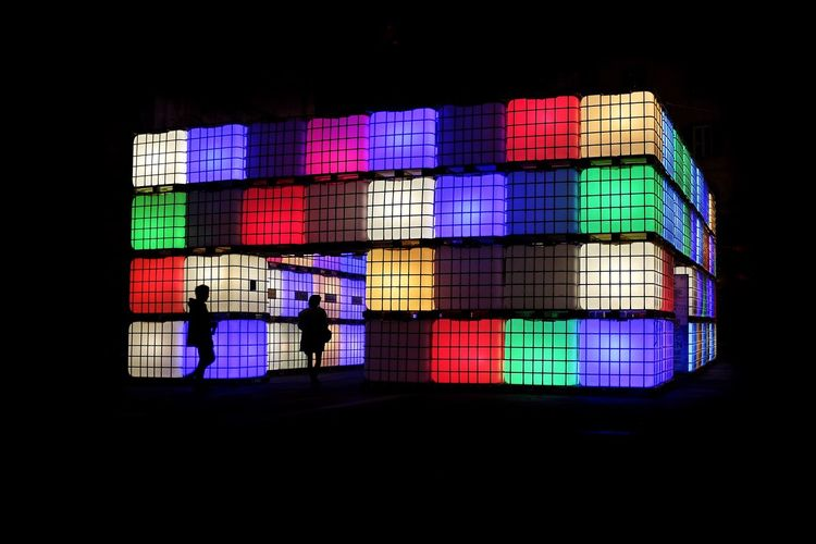 In the box Box Lights Night Cityscapes Mistery Rubik Cube FujiX100T X100t Fujifilm Lucca Urban Lights Urban Geometry Colourful Colors Red Blue Green Outdoor Silhouette Italiancity ArtWork Streetphotography Art Artistic