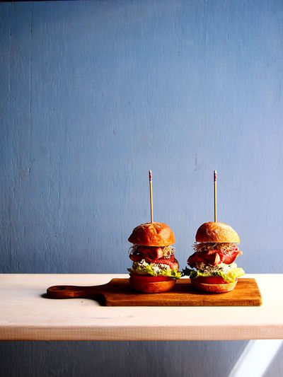 Sliders (mini burgers) Blue Bread Burgers Focus On Foreground Food Food And Drink Freshness Hamburger My Point Of View On The Table Ready-to-eat Simplicity Slider Table Close-up Food Art Food Styling Art Is Everywhere Visual Feast