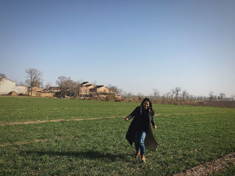 Full Length Field Clear Sky Real People One Person Grass Agriculture