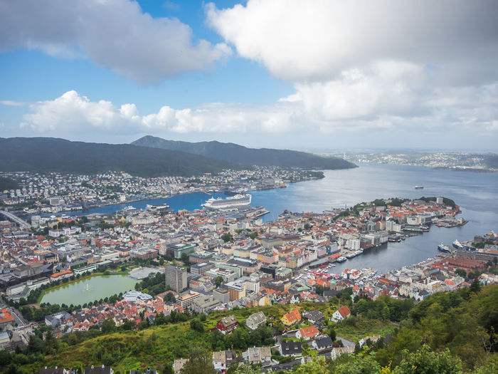 Bergen Bergen,Norway The Week On EyeEm Your Ticket To Europe Architecture Beauty In Nature Building Exterior Built Structure City Cityscape Cloud - Sky Day High Angle View Mix Yourself A Good Time Mountain Nature Nautical Vessel No People Outdoors Scenics Sea Sky Transportation Tree Water
