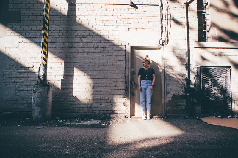 Afternoon Brickwall City Cityscape Exploring Fashion Lifestyle Millenials Strolling Traveling Vancouver Abstract Enjoying Life Girl Hipster Light And Shadow Shadows Street Streetphotography Streetstyle Sunset Teenager Walls Woman Portrait Young Adult