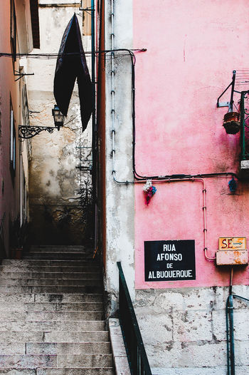 Brick Wall Building City Center City Life Citytrip Detail Holidays Narrow Street No People Old Portugal Summer Finding New Frontiers Pink Details Stairs Stairs_collection