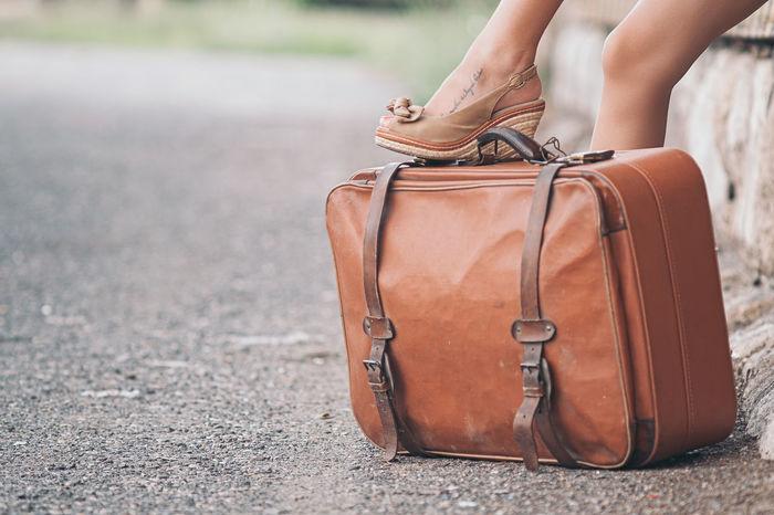 Vintage traveler bag Bag Classic Foot Journey Old Retro Suitcase Tourism Tourist Travel Traveler Trip Vacation Vintage Wait Woman