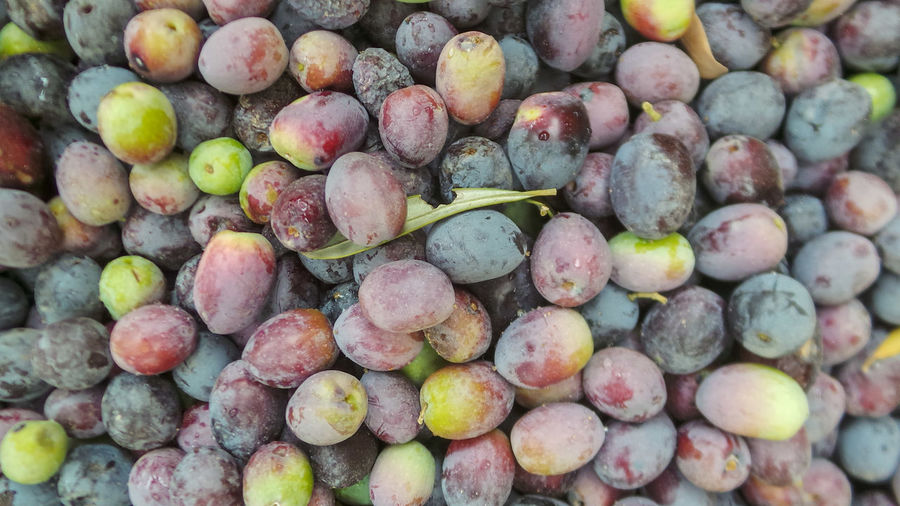 Full frame shot of grapes in market