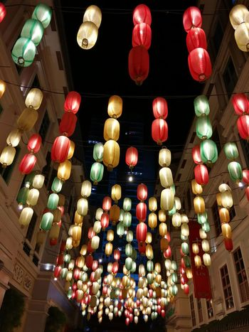 All lit up. No Filter No Filter, No Edit, Just Photography Huaweimate9 HuaweiMate9Photography Taking Photos Stories From The City Photowalking Manila Mobilephotography Mobilephotographyph EyeEm Manila Eyeem Philippines Lookingup Perspectives Chinese Lantern Hanging Chinese Lantern Festival Decoration Lighting Equipment Celebration Chinese New Year Lantern Traditional Festival Low Angle View