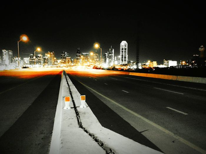 The City of Dallas captured at nighttime... Night Illuminated Street Light Road No People Bridge - Man Made Structure Outdoors Photography Photographer Dallas Dallas Texas Night Photography Orange Color Pop Light In The Darkness Light And Darkness  First Eyeem Photo EyeEmNewHere