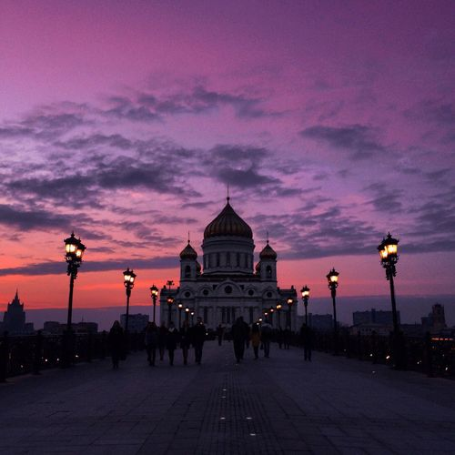 Road leading towards temple of christ the savior against sky during sunset