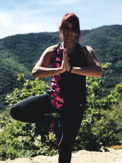 Start in calm and harmony! Real People Lifestyles Leisure Activity One Person Young Women Young Adult Nature Outdoors Sports Clothing Healthy Lifestyle Happiness Mountain Sport Standing Yoga Pose Yogagirl