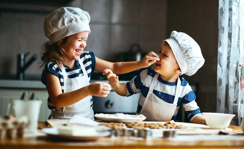 happy family funny kids are preparing the dough, bake cookies in the kitchen Bauty Boys Child Childhood Food Happiness People Smiling