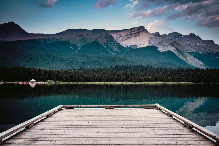 Maligne Nature Nature Photography Beauty In Nature Canada Day Jetty Jetty Ocean Sky Jetty Structure Jetty View Jetty, Pier Lake Maligne Lake Mountain Mountain Range Nature Nature_collection No People Outdoors Scenics Sky Tranquil Scene Tranquility Tree Water