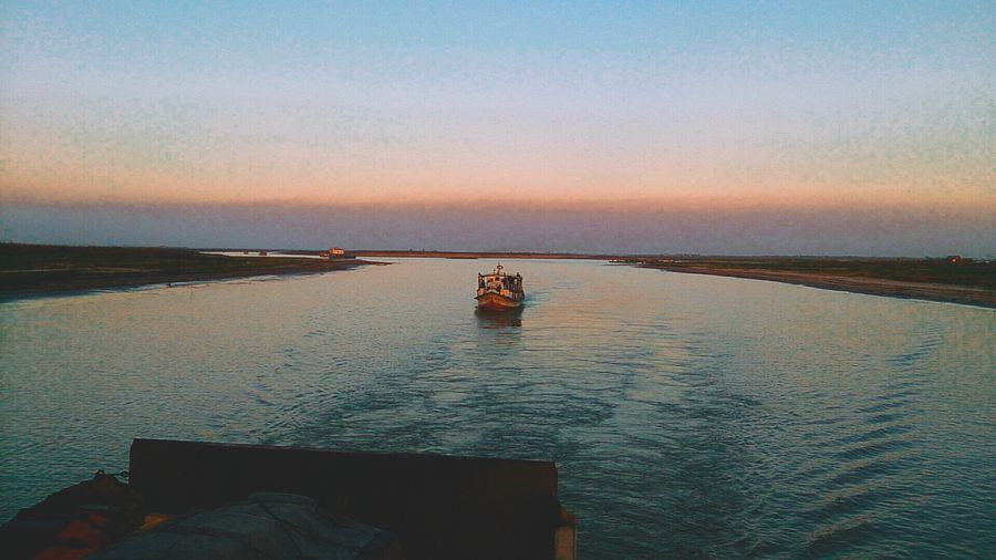 Water Sunset Nature Sea Scenics Beauty In Nature Tranquil Scene Tranquility Outdoors Sky Nautical Vessel One Person Day Horizon Over Water People Mobilephotography Eyeembangladesh @anickchowdhurymp EyeEmNewHere
