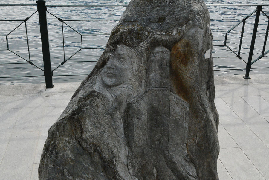 Local landmarks carved in stone - Gravedona, Como, Italy. Como Gravedona Landmarks Lario Lombardy Rock Travel Art Art And Craft Carved Close-up Etched Europe Italian Italy Lake Como Landmark Lombardia Outdoors Sculpture Stone Tourism Urban