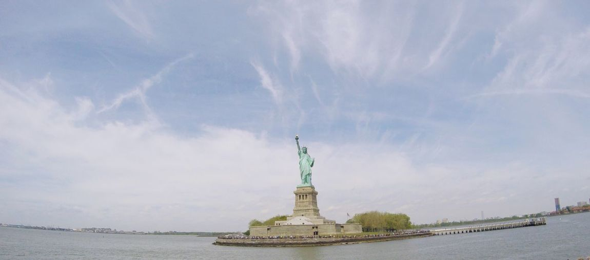 Statue Of Liberty Sea New York City View Sky Clear Sky