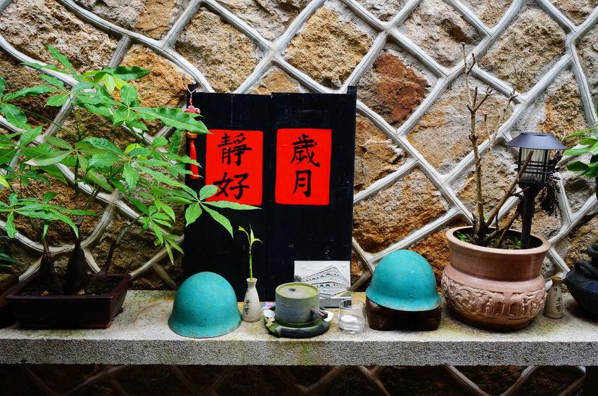 歲月靜好 Chinese Words Helmets History Kinmen No People Plants Red Paper Taiwan Wall Water