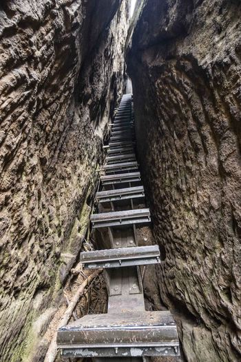 Low angle view of steps on rock formation
