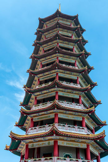 Low angle view of pagoda against building