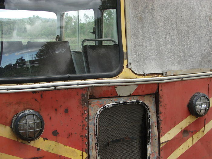 View of red car window