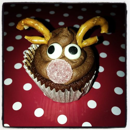 Christmas Rudolph the red nosed reindeer cupcake Antlers Art Christmas Cake Close-up Creative Food Cupcake Decorative Elevated View Festive Food Indulgence No People Reindeer Rudolph RudolphTheRedNosedReindeer Still Life Temptation Xmas Cake