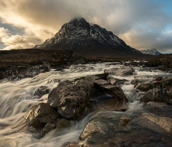 Glencoe, Buachaille Etive Mor Water Long Exposure Scotland Landscape_photography Mountains And Valleys Mountain Scotland 💕 Sunset Landscape Tranquil Scene Rivers Blurred Motion