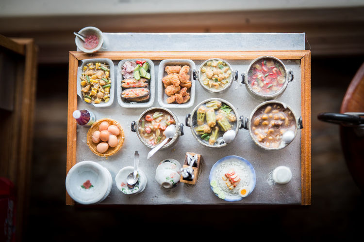 Thai Food Model Food And Drink Asian Food Bowl Choice Chopsticks Food Food And Drink High Angle View Indoors  Kitchen Utensil Model No People Ready-to-eat Spoon Table Thai Food Tray Variation Wellbeing
