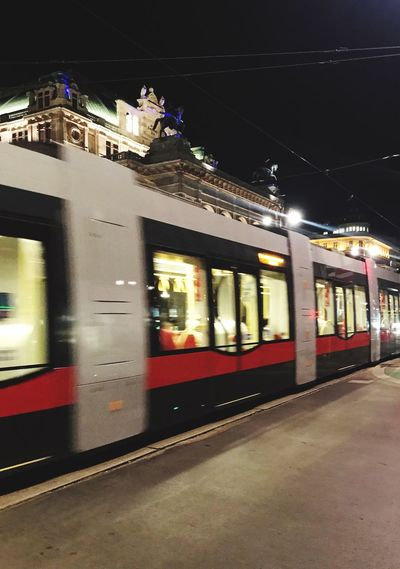 Tram glides in Vienna Transportation Public Transportation Motion Tram Tramway Night Lights Night Nightlife Vienna Wien Staatsoper