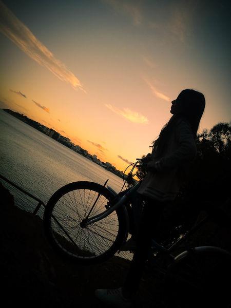 🍁Autumnal day🍁 Sunset Sky Bicycle 🍁🍂autumn Horizon
