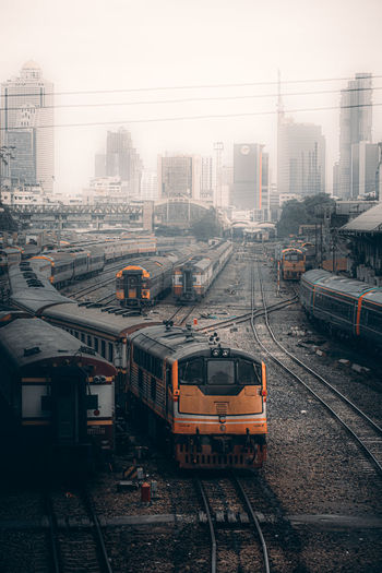 High angle view of train on street in city