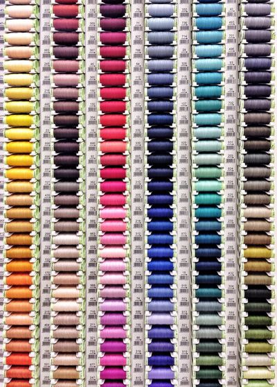 Full frame shot of colorful threads for sale in store