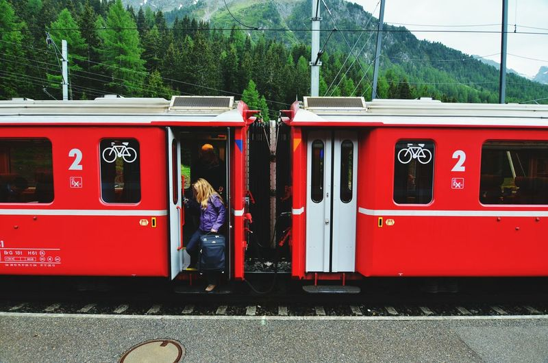The Traveler - 2015 EyeEm Awards The Photojournalist - 2015 EyeEm Awards Red Train Train Train Station The Human Condition Switzerland People Watching Tourists People Photography