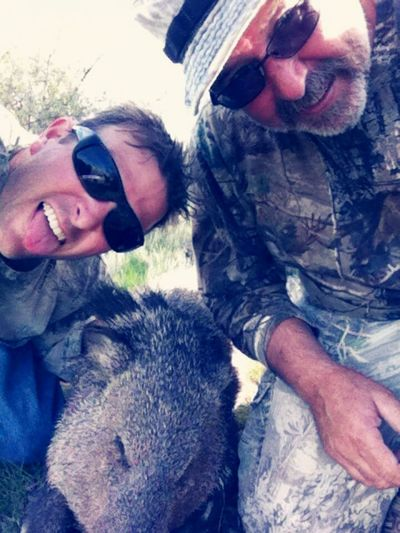 Andrew & his dad with Andrew's javelina he got with his bow. He was especially proud of the kill bc he got it straight thru the heart from 53 yards (with his 50 yard sight broken), uphill with a slight breeze. Hunting Men Father & Son Outdoors Javelina Smiling Happy :) Bow Hunter Archery Early Morning The Desert White Men Proud Father Fatherhood Moments By September 8 2016 Fatherhood  Fatherhood Moments